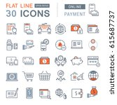 set line icons in flat design... | Shutterstock . vector #615687737