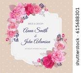 wedding floral template...   Shutterstock .eps vector #615688301