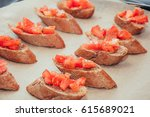 with sandwicheschopped tomato | Shutterstock . vector #615689021