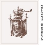vintage manual coffee grinder.... | Shutterstock .eps vector #615689465