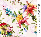 seamless background floral... | Shutterstock .eps vector #615692651