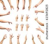 multiple male caucasian hand... | Shutterstock . vector #615692825