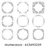 vector set with ornate borders... | Shutterstock .eps vector #615693239