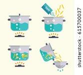 pasta cooking recipe. spaghetti ... | Shutterstock .eps vector #615700037