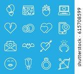 valentine icons set. set of 16...   Shutterstock .eps vector #615708599