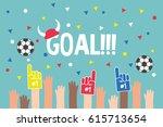 stadium crowd. raised hands... | Shutterstock .eps vector #615713654