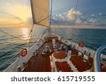 luxury sailing yacht at sunset. ... | Shutterstock . vector #615719555