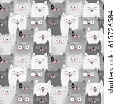 Stock vector funny grey cats cute seamless pattern background 615726584