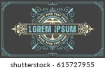 art deco badge with floral frame | Shutterstock .eps vector #615727955
