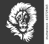 a lion head logo in black and... | Shutterstock .eps vector #615729365
