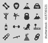 strength icons set. set of 16... | Shutterstock .eps vector #615730121