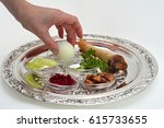 jewish woman hand organizing... | Shutterstock . vector #615733655