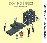 start domino effect. chain... | Shutterstock . vector #615737885