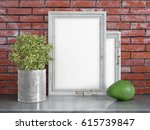 mock up blank frame. 3d... | Shutterstock . vector #615739847