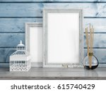 mock up blank frame. 3d... | Shutterstock . vector #615740429