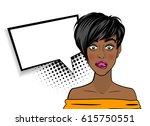 beautiful black sexy shocked... | Shutterstock .eps vector #615750551