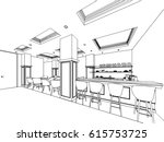 interior outline sketch drawing ... | Shutterstock .eps vector #615753725
