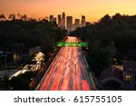 traffic in downtown los angeles ... | Shutterstock . vector #615755105
