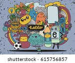 hipster hand drawn crazy doodle ... | Shutterstock .eps vector #615756857