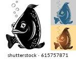 live fish swim under water ... | Shutterstock .eps vector #615757871