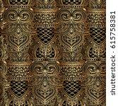 ornate tribal seamless golden... | Shutterstock .eps vector #615758381