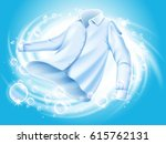white shirt washed and spun in... | Shutterstock . vector #615762131