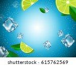 flying lemons  ice cubes and... | Shutterstock .eps vector #615762569