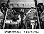 bald bodybuilder preparing for... | Shutterstock . vector #615763961