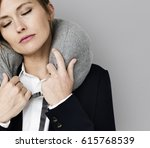 caucasian woman travel pillow... | Shutterstock . vector #615768539