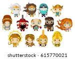 greek and roman gods and... | Shutterstock .eps vector #615770021