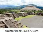 view of pyramids in teotihuacan ... | Shutterstock . vector #61577389