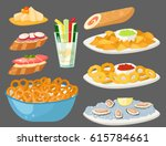 various meat canape snacks... | Shutterstock .eps vector #615784661