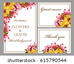 invitation with floral... | Shutterstock .eps vector #615790544