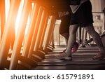 healthy man and woman running... | Shutterstock . vector #615791891