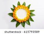 flower rangoli made using... | Shutterstock . vector #615793589