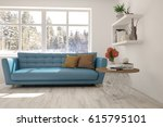 white room with sofa and winter ... | Shutterstock . vector #615795101