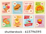 fast food lunch menu poster... | Shutterstock .eps vector #615796595