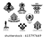 chess club icon set. chess... | Shutterstock .eps vector #615797669
