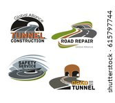 road tunnel construction and... | Shutterstock .eps vector #615797744