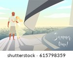 happy people on vacation.... | Shutterstock .eps vector #615798359