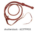 A braided leather whip - stock photo