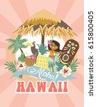 aloha party invitation card | Shutterstock .eps vector #615800405