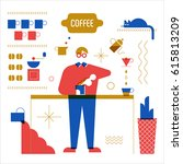 coffee object barista character ... | Shutterstock .eps vector #615813209
