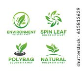 set of fresh nature leaf logo ... | Shutterstock .eps vector #615813629