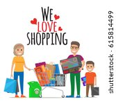 we love shopping conceptual... | Shutterstock .eps vector #615814499