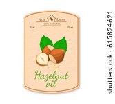 vector hazelnut oil lable.... | Shutterstock .eps vector #615824621