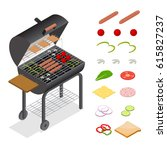 barbecue isometric view...   Shutterstock .eps vector #615827237