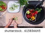 child hands chopping vegetables ... | Shutterstock . vector #615836645