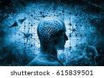 brain  thinking concept  3d... | Shutterstock . vector #615839501