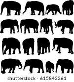 asian elephant silhouette...   Shutterstock .eps vector #615842261